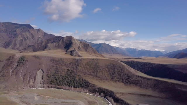 Altai mountains. Beautiful highland landscape. Russia. Siberia. Flight on quadcopter. Top view video