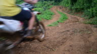 Amateur motocross rider driving the motorcycle video