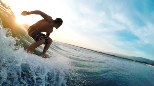 Amateur surfer on the wave video