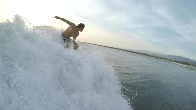 Amateur surfer rides the wave video