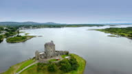 Amazing aerial shot of the Dunguaire castle video