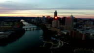 Amazing Aerial View Over Austin during a Once in a lifetime Sunset Flying over Downtown video