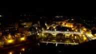 Amazing aerial view over the City of Rome by night from the top of Castel Sant Angelo video