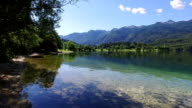 Amazing Bohinj Lake in the morning. Panoramic view. Clear water with fish and gorgeous landscape of Bohinj valley in Julian Alps. Triglav National Park, Slovenia, Europe. video