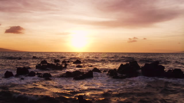 Amazing Dramatic Sunset View. 4K Aerial Shot Flying Low Over Ocean video