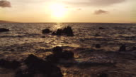 Amazing Dramatic Sunset View. Aerial Shot Flying Low Over Ocean in Hawaii video