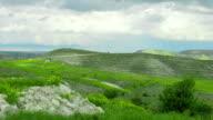 Amazing green landscape panorama. Beautiful rocky hills. Nature preservation video