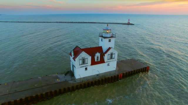 Amazing Harbor with Lighthouse at Sunrise, Aerial View video