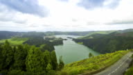 Amazing natural landscape with Sete Cidades lake, Sao Miguel island, Azores, Portugal video
