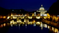 Amazing night shot of Tiber River and its bridges in Rome - with a view over Vatican video