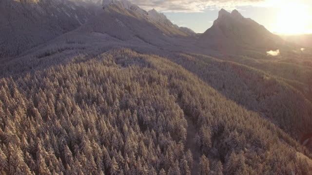 Amazing Sunrise Aerial Floating Over Snow Covered Forest to Mountain Peaks video