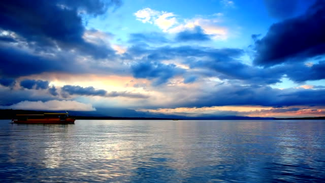 amazing sunset cloud and travelling boat in lake geneva video