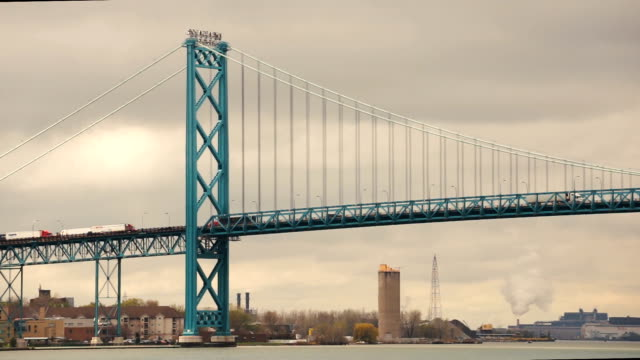 Ambassador Bridge Carries Traffic Across Detroit River United States Canada video