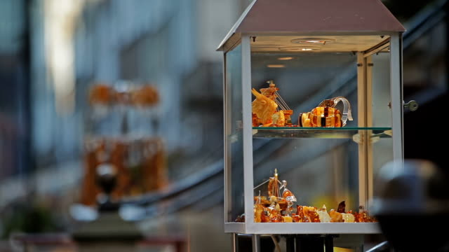 Amber jewelry in outdoor displays video