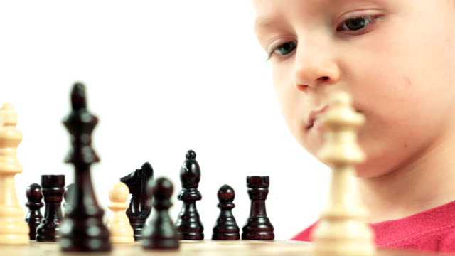 Ambitious little chess player. Small genius. video