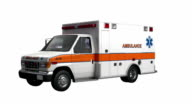 Ambulance America car spin isolated with luma matte video