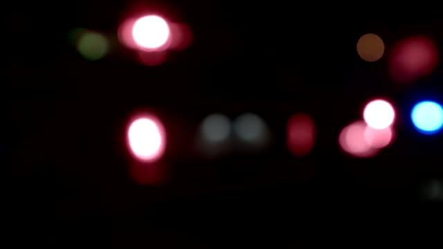 Ambulance, Cops and Firetrucks Blurry Lights Background at Night video