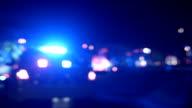Ambulance, Cops and Firetrucks Blurry Lights Panning Background at Night video