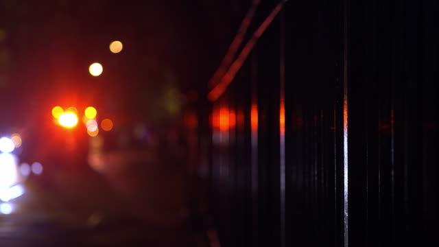 Ambulance Flashing Lights at Night in the Rain, Harlem, New York City video