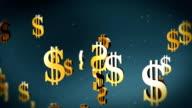 American dollar currency symbol flying video