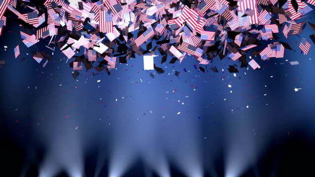 American flag as confetti video
