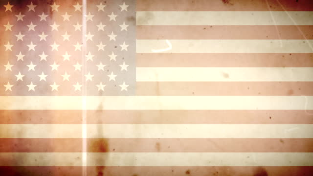 American Flag - Grungy Retro Old Film Loop with Audio video