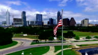 American Flag in Front of Austin Texas Capital City Downtown Skyline video