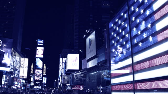 American flag in times square, New York, USA video