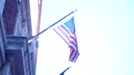 American Flag On City Building video