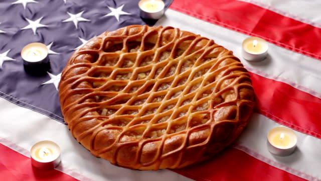 American flag, pie and candles. video