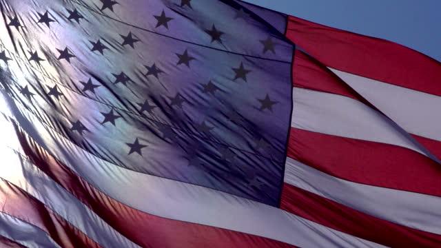 American Flag Waving in Wind video