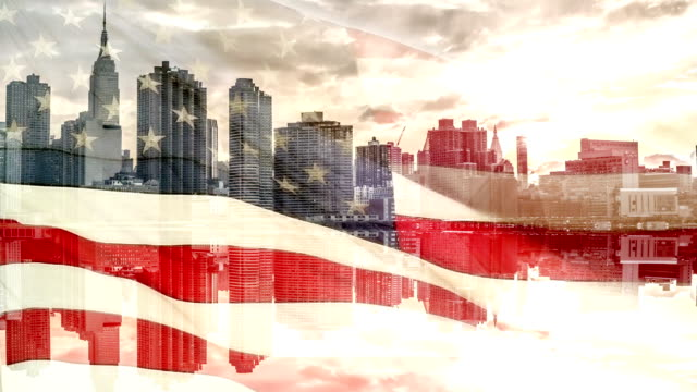 American Flag with Manhattan Skyline video