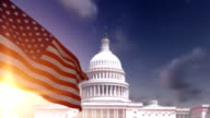 American Flag with US Capitol Building video