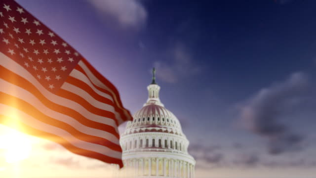 American Flag with US Capitol video