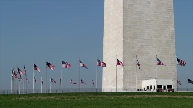 American flags at the Washington Monument close up video