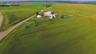 American Heartland, Midwest Aerial View, Landscape With Farms, Silos video
