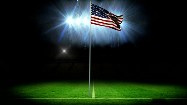American national flag waving on flagpole video