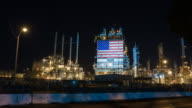 American oil refinery working through the night video