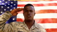 American soldier is doing salute to the camera video