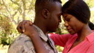 American soldier is embracing his wife video