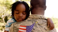 American soldier is hugging his son video