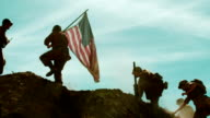 American Soldiers Taking Flag up Hill video