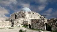 Amman city landmarks-- old roman Citadel Hill, Jordan video
