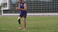 Amputee athlete practicing side step exercise video