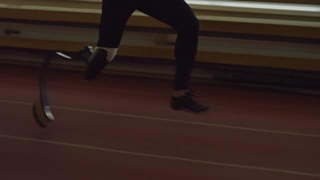 Amputee Sprinter Running on Track video