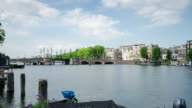Amstel river and Amsterdam time lapse video