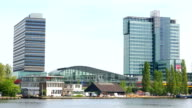 Amsterdam business district with train video
