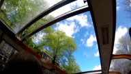 Amsterdam canals boat sunroof slow motion trip sky view video
