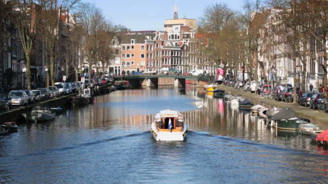 Amsterdam city on the river Amstel video
