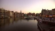 Amsterdam Damrak by sunset video